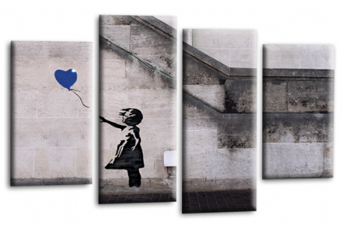 Banksy Art Balloon Girl Love Peace Blue Grey Canvas Wall Art Print